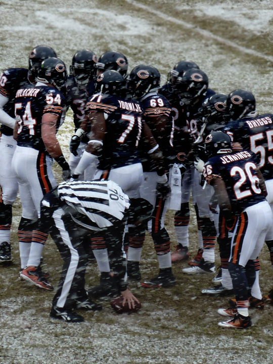Bears Defense Huddle