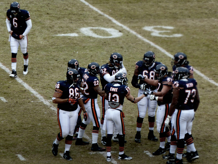 Cutler Joins the huddle