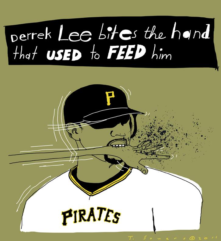 Derrek Lee, Pirates, art image, image, bites hand