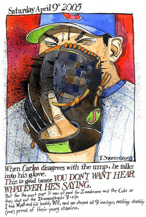 Carlos Zambrano, chicago cubs, yelling into glove, illustration, art image, painting