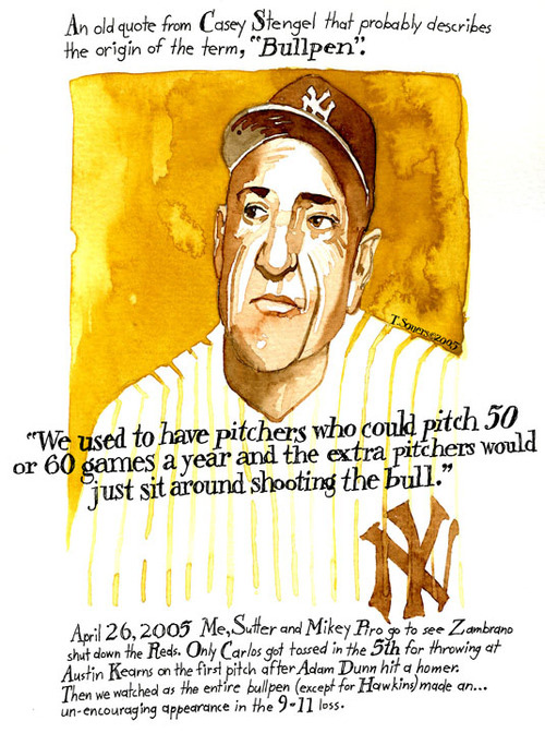Casey Stengel, the origin of the term %22bullpen%22, art image, painting