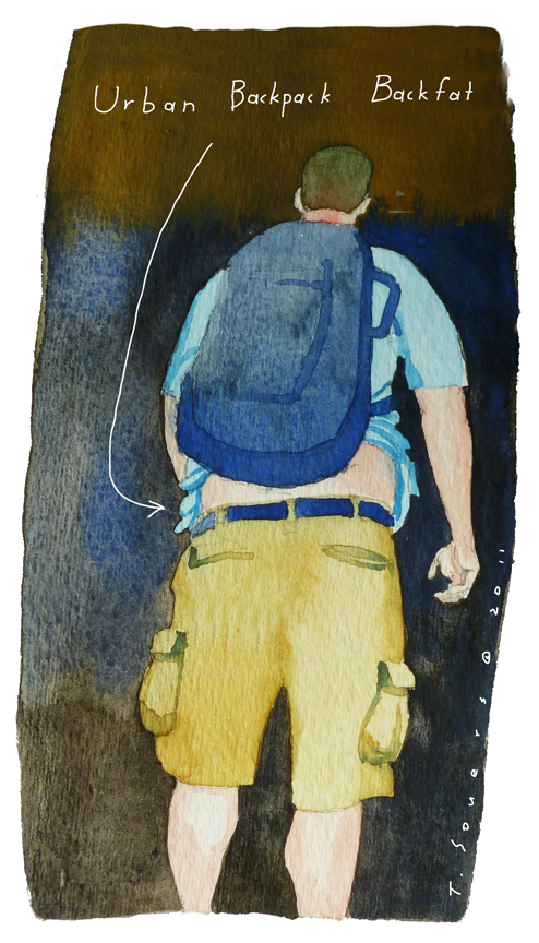 Backpack, art image, cartoon, watercolor, painting