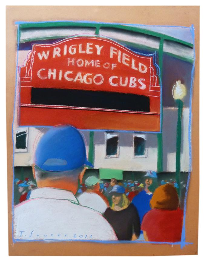 Wrigley Field, Wrigley Field Sign, art image, pastel, cubby blue