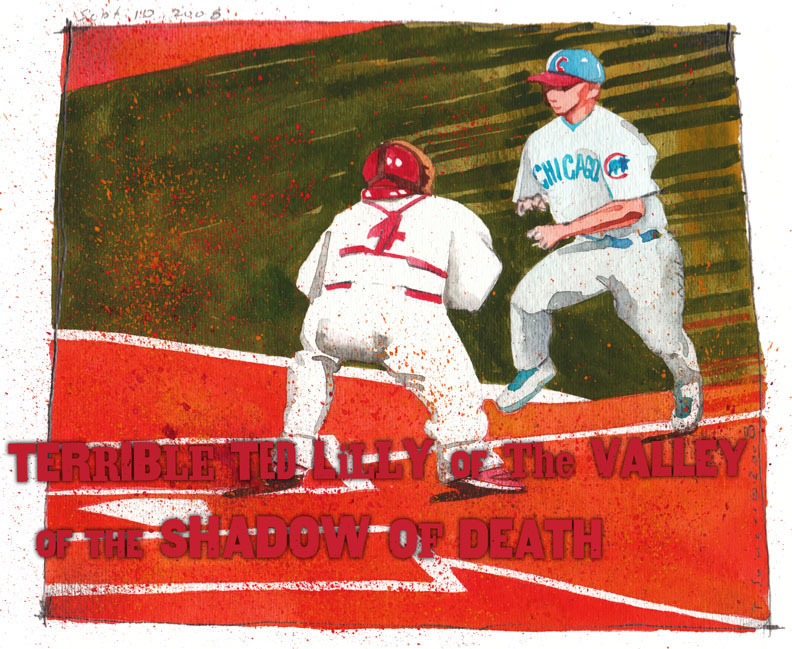 Ted Lilly, Yadier Molina, collision, illustration, art image