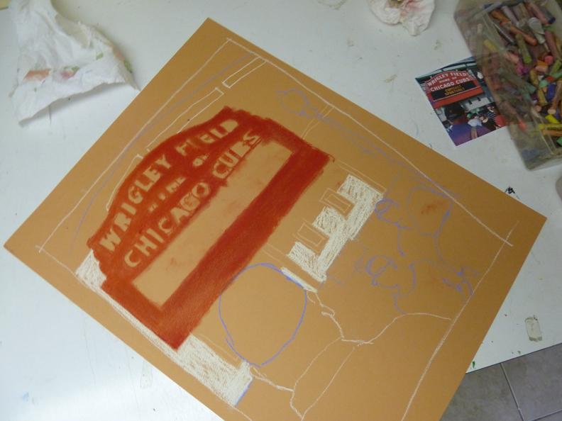 Wrigley Field, Wrigley Field Sign, art image, pastel, cubby blue2