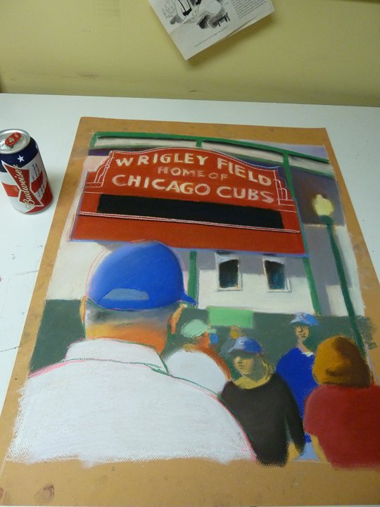 Wrigley Field, Wrigley Field Sign, art image, pastel, cubby blue3