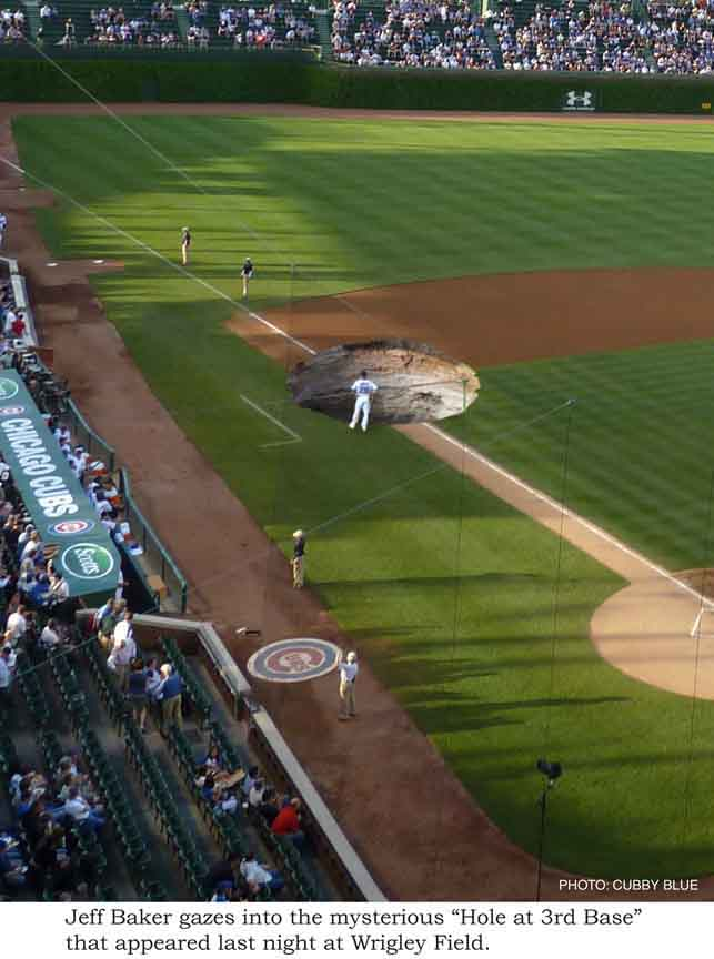 Wrigley Field, Aramis Ramirez, hole at third base, art image, cubby blue