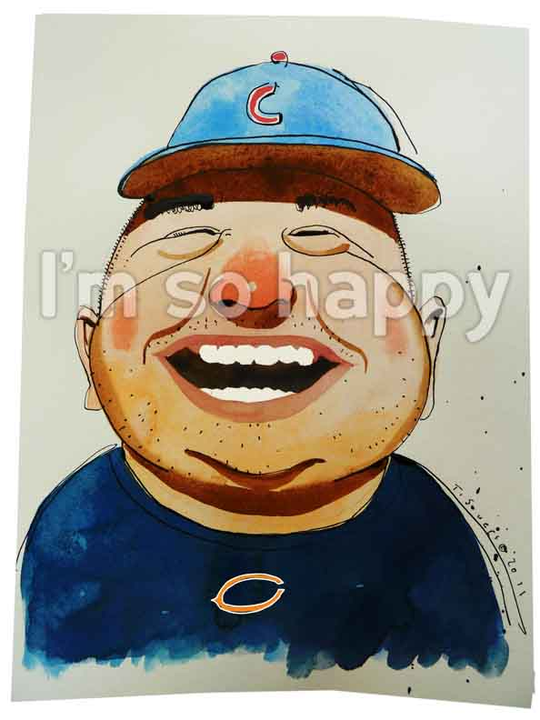 Happy Fan, Chicago Cubs, Chicgo Bears, art image, illustration