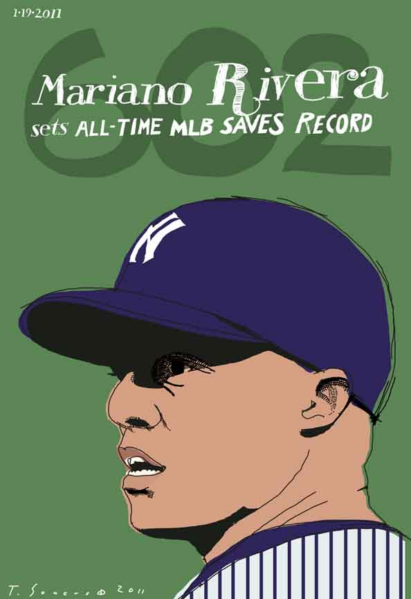 Mariano Rivera, art image, illustration, drawing, record saves, New York Yankees