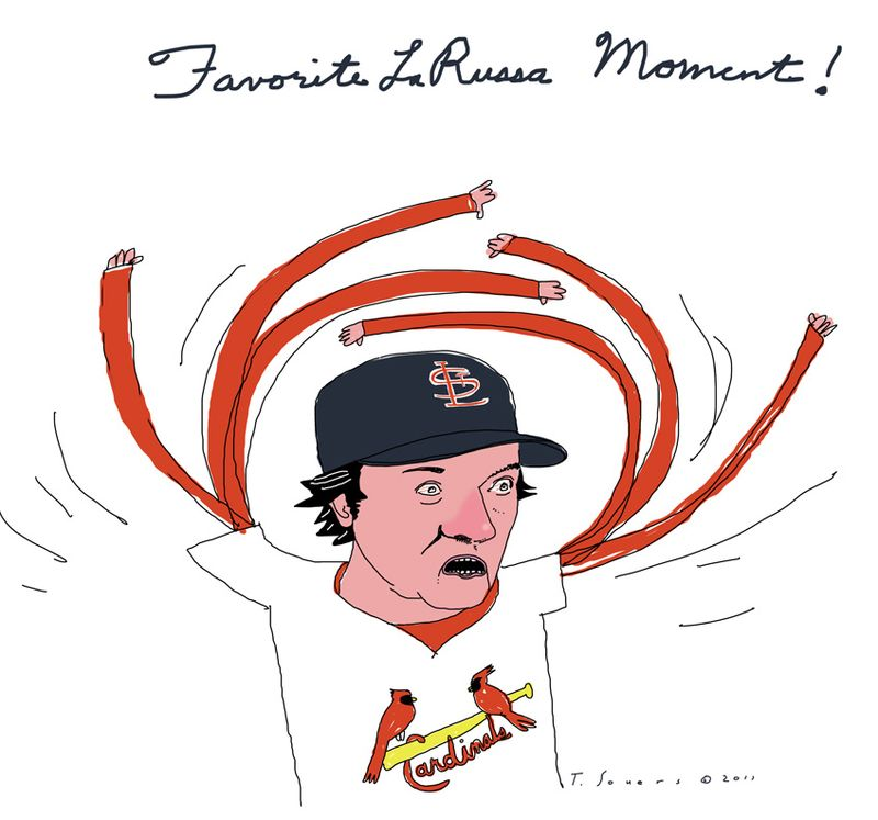 Tony larussa, st louis cardinals, world series, cartoon, art image