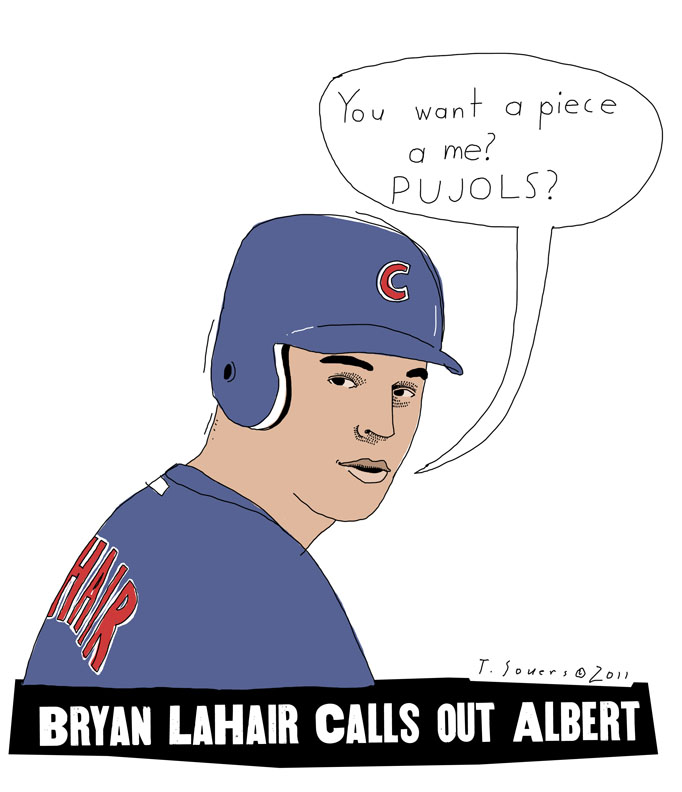 Bryan LaHair, chicago Cubs, albert pujols, cartoon