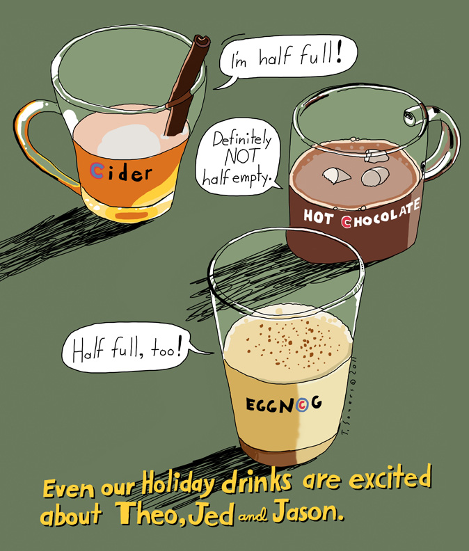 Holiday Drinks, theo epstein, jed hoyer, chicago cubs, cartoon
