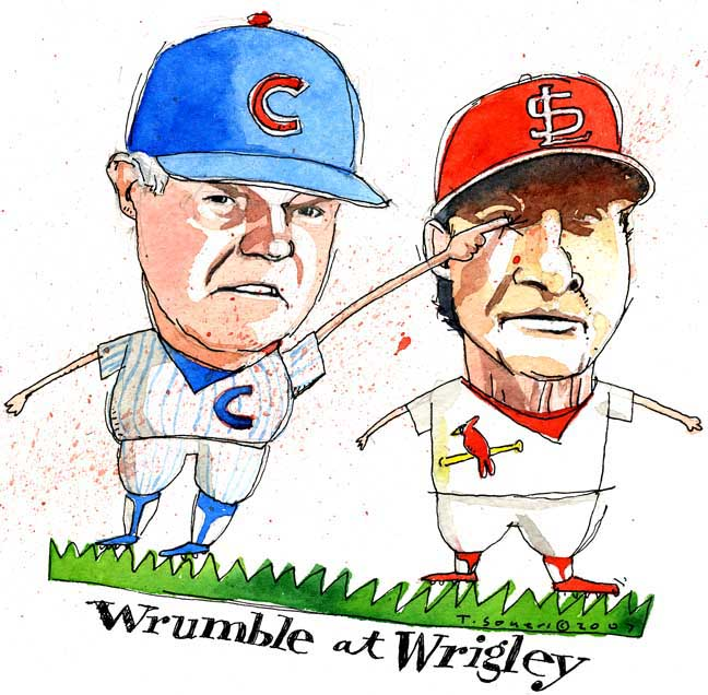 Lou Piniella, Tony LaRussa, Wrigley Field, art image, cartoon