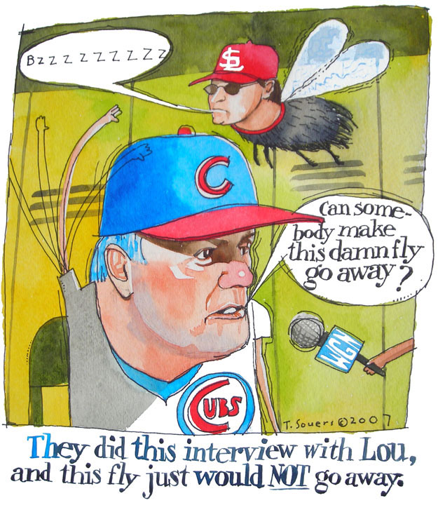 Lou Piniella, Tony LaRussa, art image, cartoon