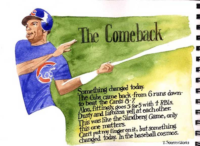 Moises Alou, Chicago Cubs, illustration