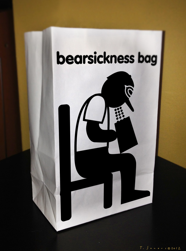Bearsickness Bag, Chicago Bears, cartoon, art image