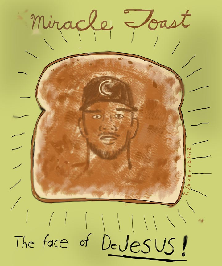 David DeJesus,toast,face of jesus,cartoon