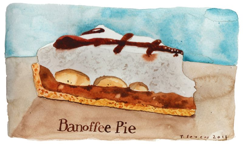 Banoffee Pie, illustration, watercolor, art image