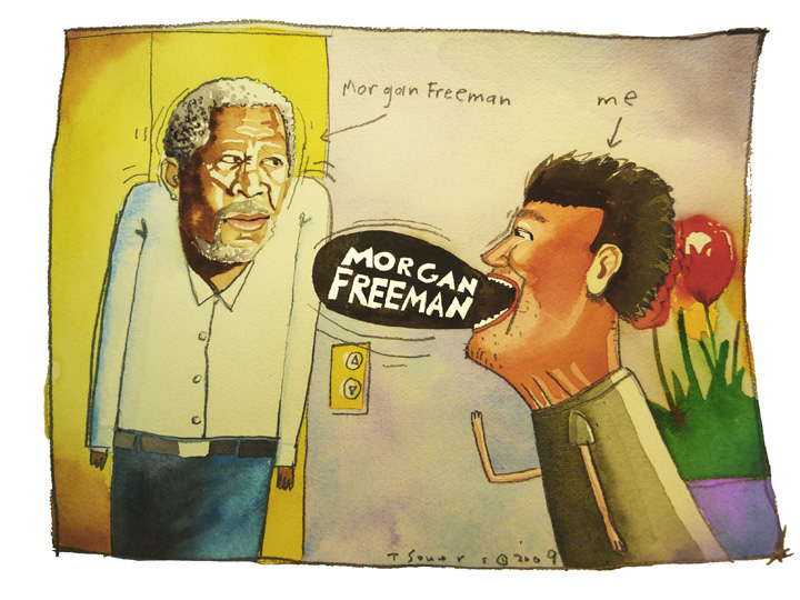 Morgan Freeman, Golden Globes, cartoon, four seasons hotel