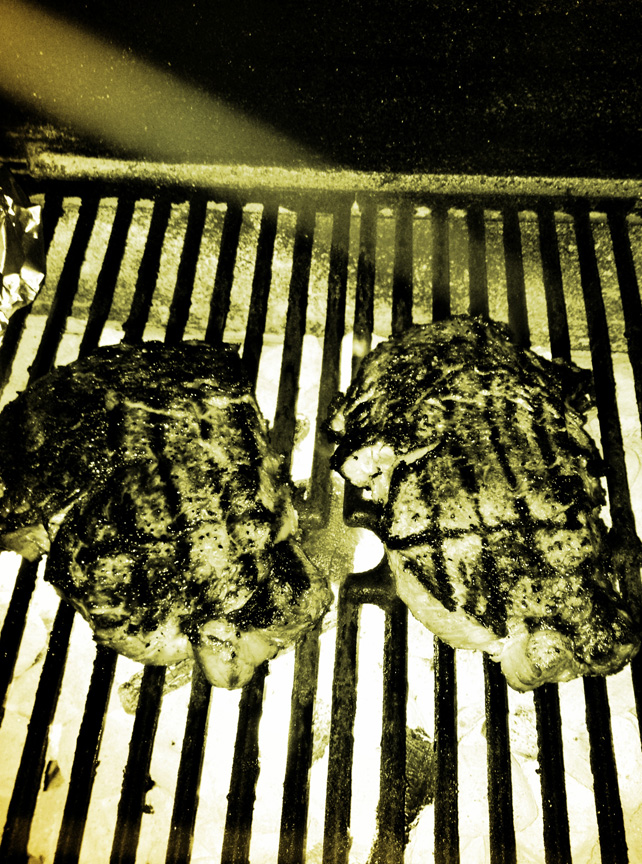 Steaks on grill