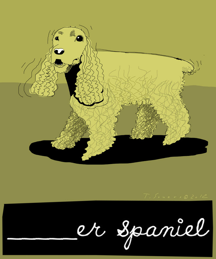 Cocker Spaniel,bad word,cartoon