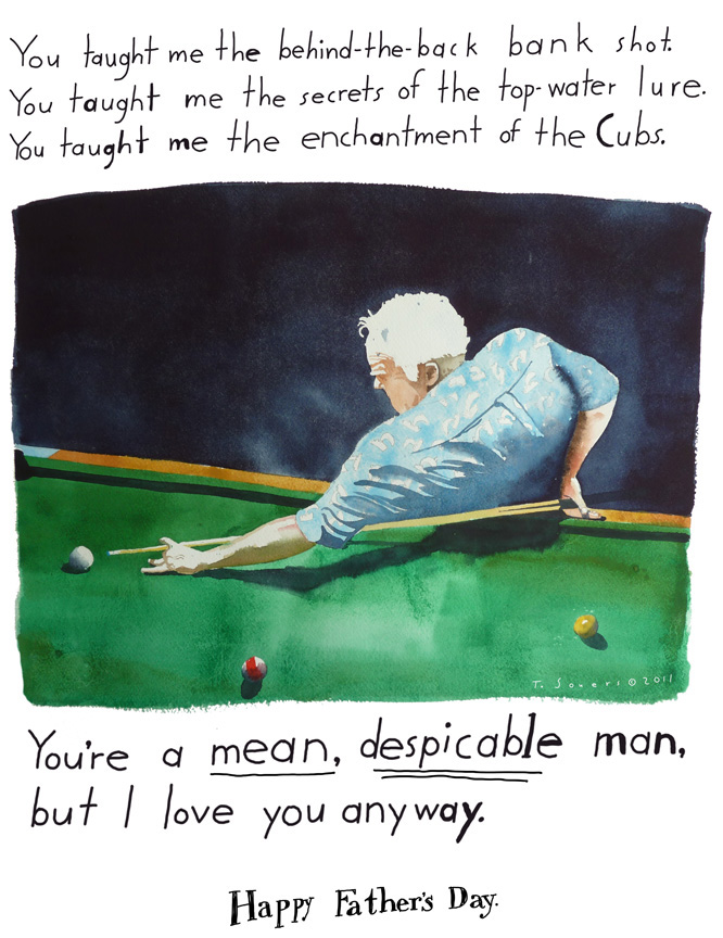 Happy Fathers Day,Cub Fan,painting,cartoon