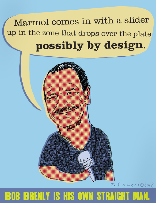 Bob Brenly,chicago cubs,cartoon,drawing,illustration