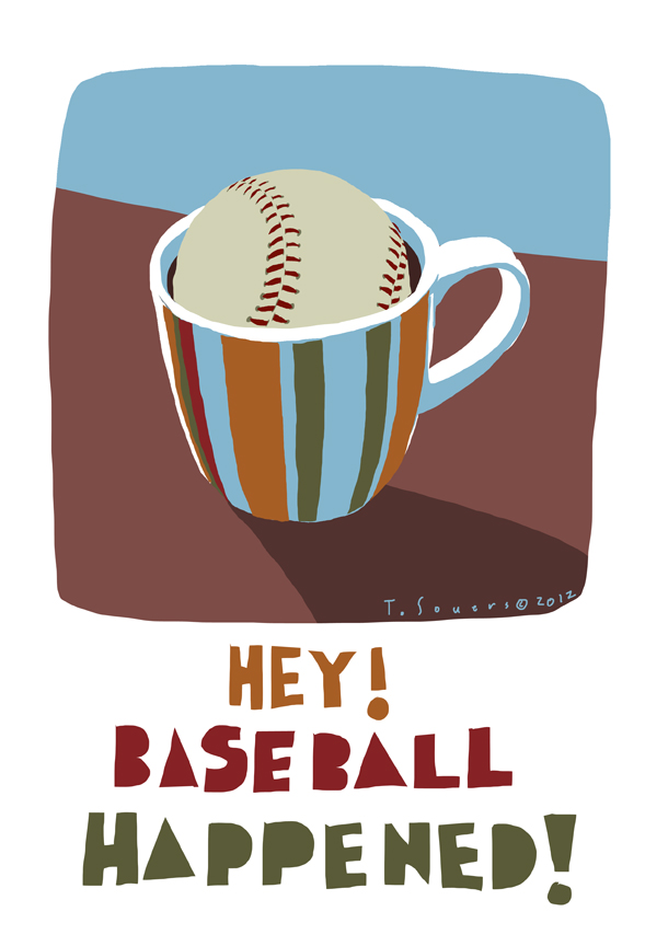 Baseball,coffee,cartoon,illustration