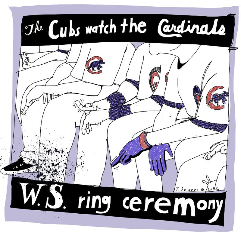 Cubs,cardinals ring ceremony,cartoon