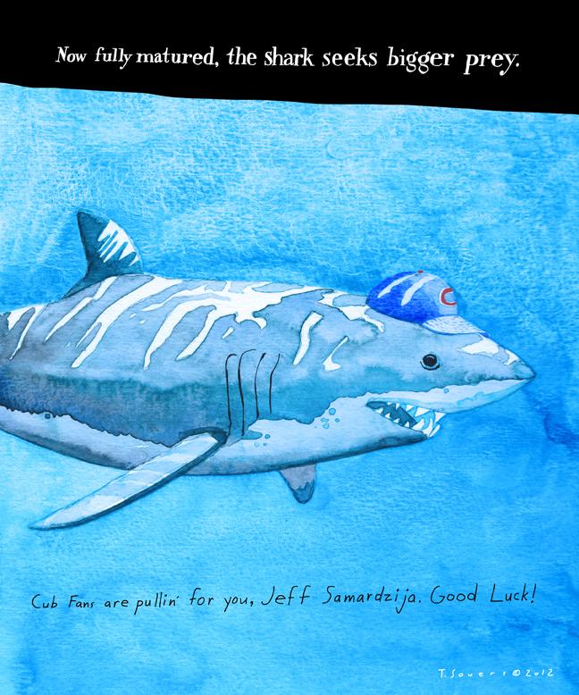 Jeff Samardzija,shark,illustration,cartoon