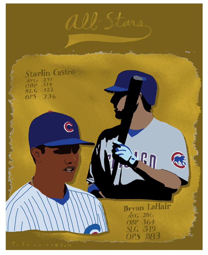 Cubs All Stars,Castro,LaHair,art image