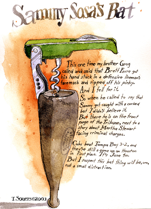 Sammy Sosa's corked bat, cartoon