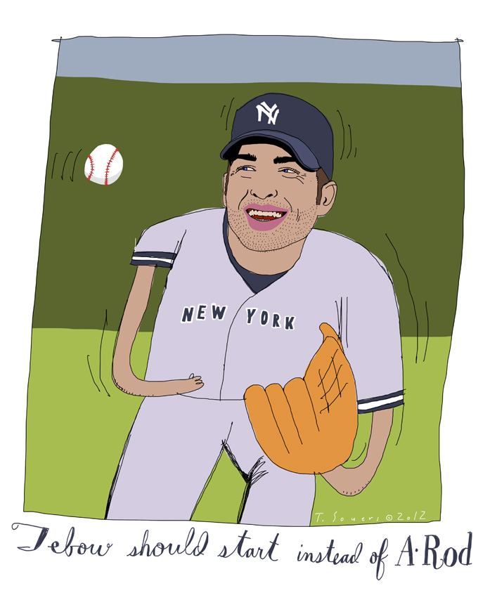 Tim Tebow, cartoon, Yankees