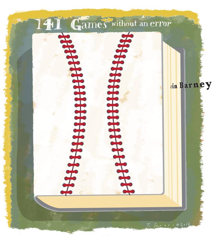 Darwin Barney, errorless streak, Baseball Record Book, illustration