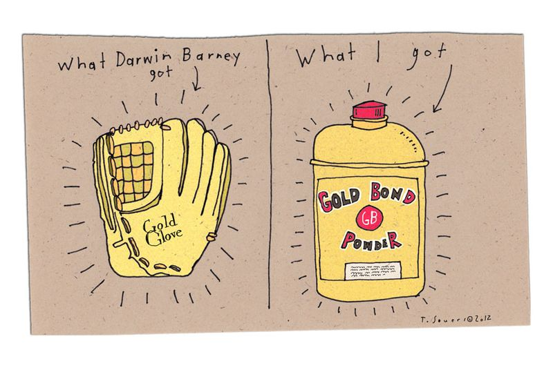 Darwin Barney,gold glove,cartoon