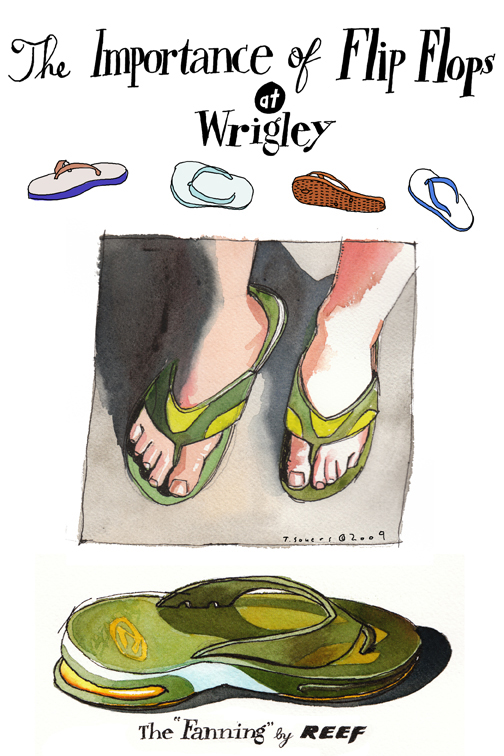Flip Flops, wrigley field, painting