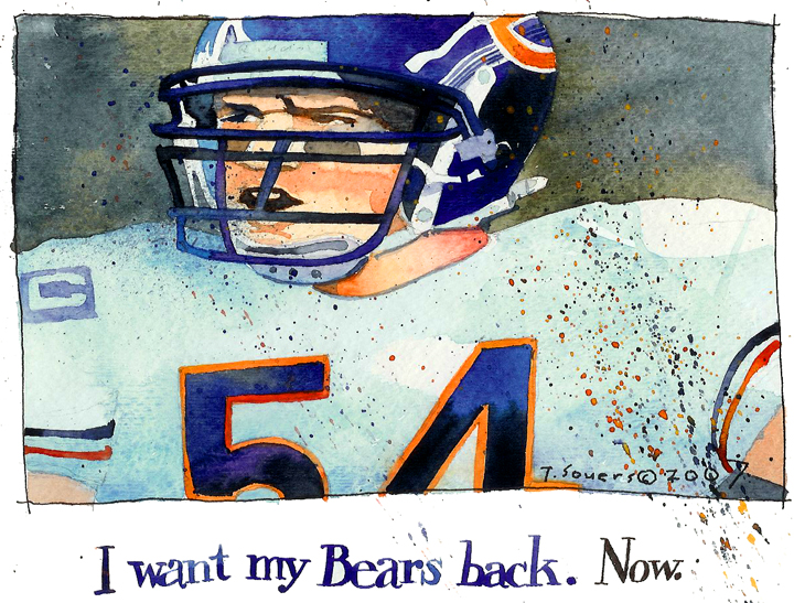 Brian Urlacher, watercolor, chicago bears