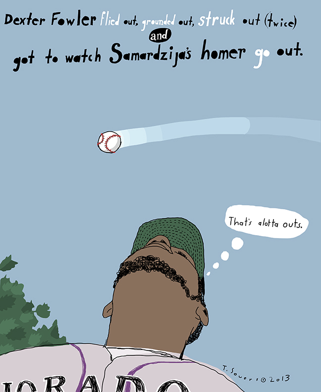 Dexter Fowler,jeff samardzija,cartoon