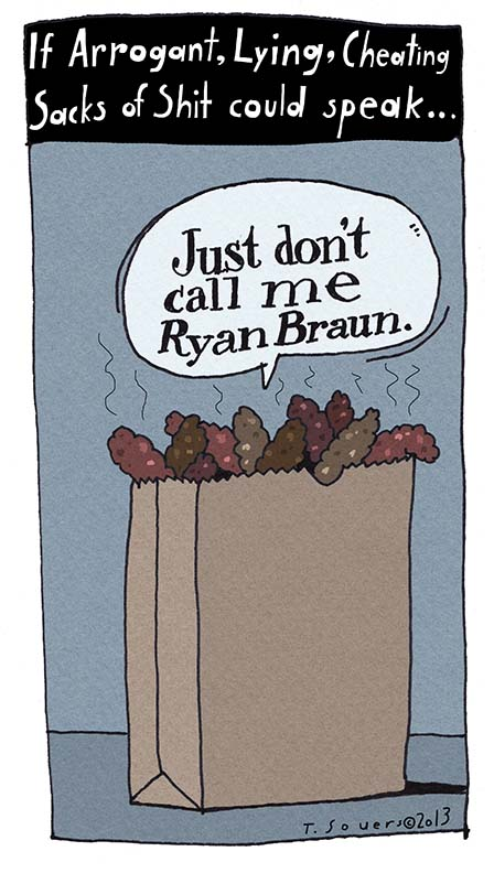 Ryan Braun, cartoon, lying, cheating, arrogant