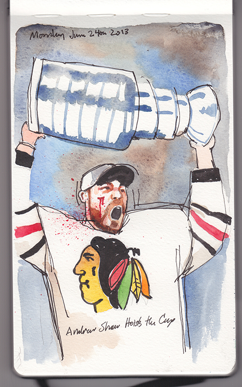 Andrew Shaw, Chicago Blackhawks, puck to the face