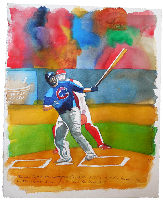 Welington Castillo monster homer watercolor