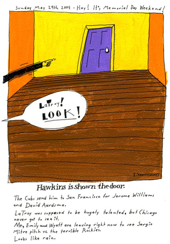 LaTroy Hawkins is shown the doori