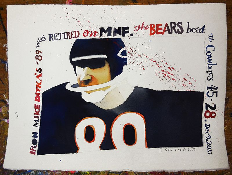 Mike Ditka, watercolor, illustration