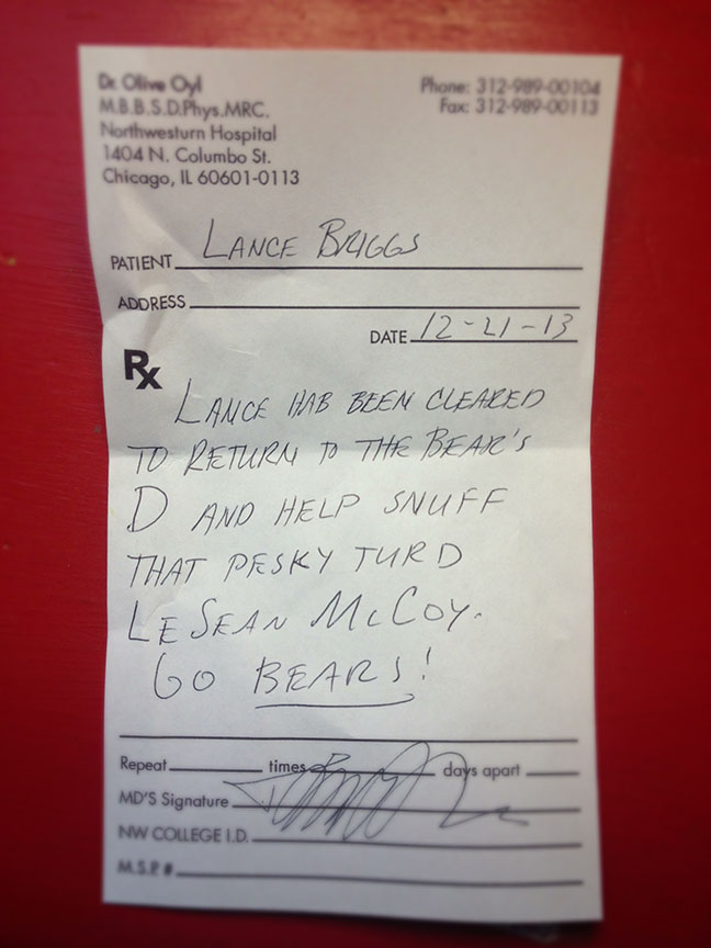 Lance Briggs, doctor note