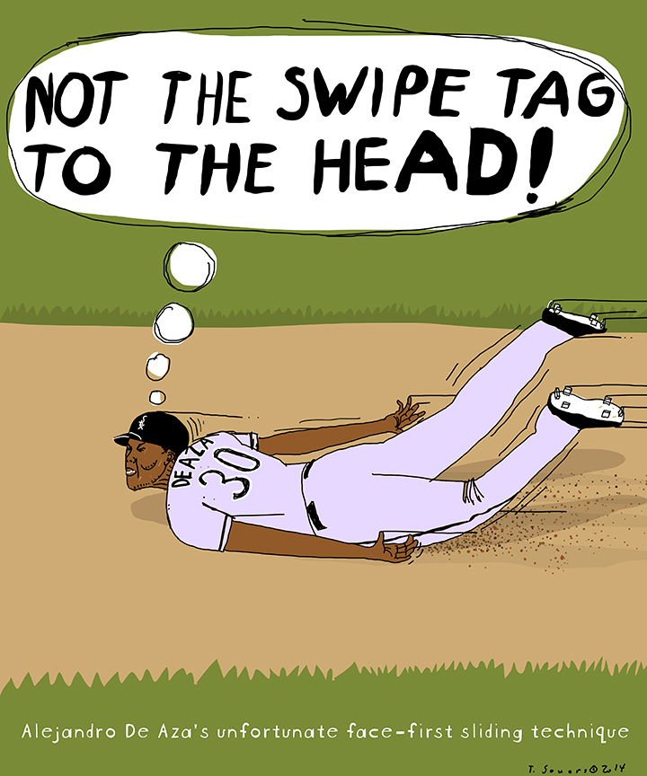 Alejandro De Aza face-first slide