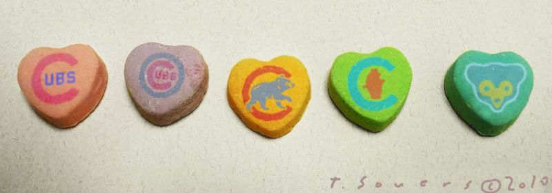 Cubs valentines day candy