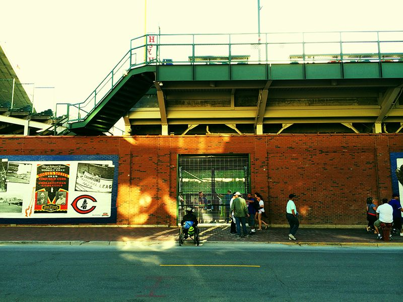 Outside wrigley field, looking in
