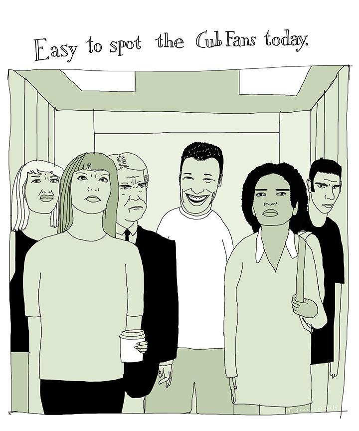 Cub fans on an elevator