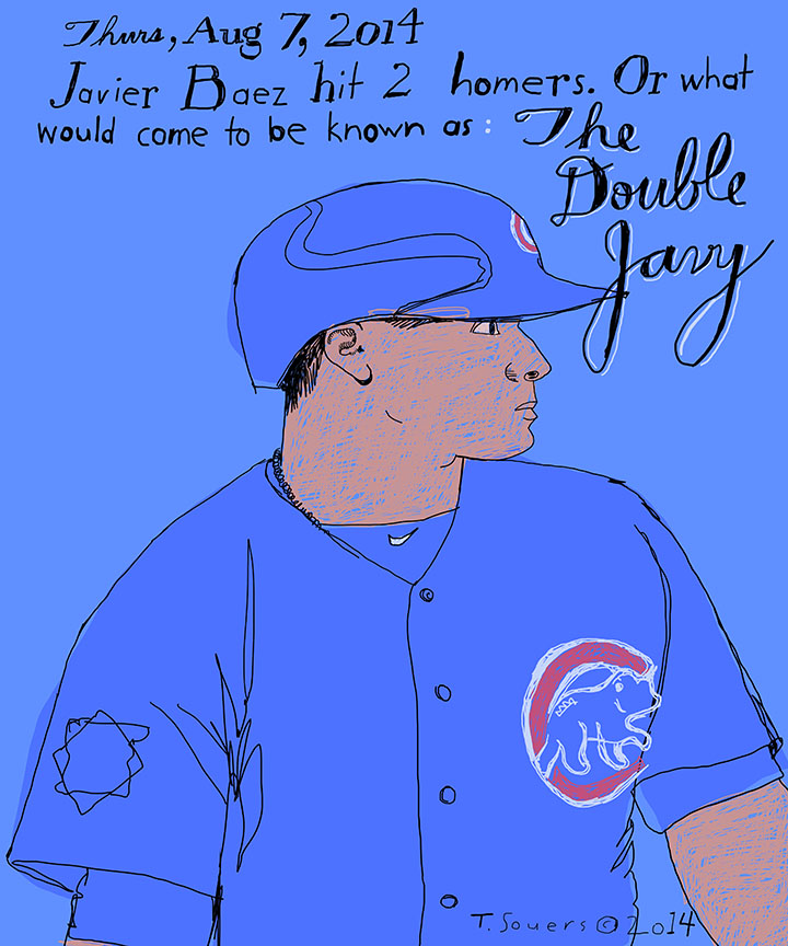 Double javy, Javier Baez, chicago cubs, sportsart