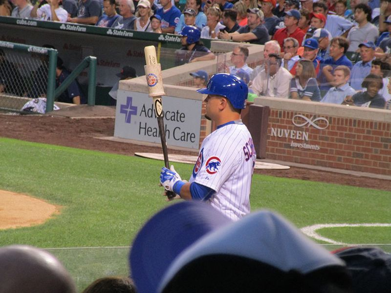 Kyle Schwarber waits to bat